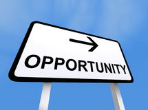 Opportunity sign. Closeup of directional opportunity sign with blue sky background royalty free illustration