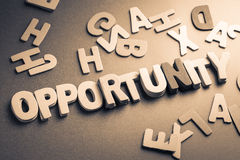 Opportunity. Stack wood letters as Opportunity word Royalty Free Stock Photo