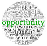 Opportunity and success concept in word tag cloud Royalty Free Stock Photos