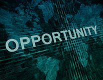 Opportunity. Text concept on green digital world map background Stock Image