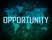Opportunity. Text concept on green digital world map background Royalty Free Stock Images