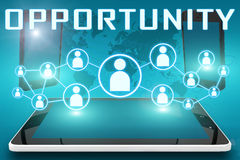 Opportunity. Text illustration with social icons and tablet computer and mobile cellphones on cyan digital world map background Stock Image