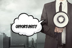 Opportunity text on speech bubble with businessman Royalty Free Stock Photo