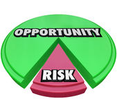 Opportunity Vs Risk Pie Chart Managing Danger. Opportunity and Risk words on a green and red pie chart to illustrate a small amount of caution or negative Stock Photos
