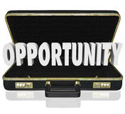 Opportunity Word Open Briefcase Job Offer Sales Proposal. Opportunity word in an open black leather briefcase to illustrate a job offer or sales proposal or Royalty Free Stock Photos