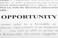Opportunity. The word Opportunity shot with artistic selective focus Stock Photos