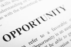 Opportunity. The word Opportunity shot with artistic selective focus Stock Photography