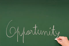 Opportunity written on a blackboard. With chalk stock image