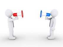 Opposing businessmen with megaphones. Two 3d businessmen are speaking to each other using megaphones Royalty Free Stock Photography
