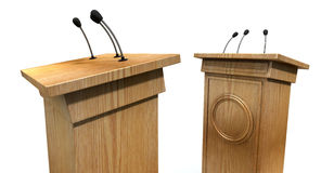 Opposing Debate Podiums. Two opposing regular wooden debate podiums signifying a debate on an isolated white studio background vector illustration