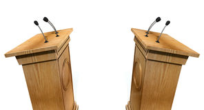 Opposing Debate Podiums Royalty Free Stock Image