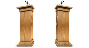 Opposing Debate Podiums. Two opposing regular wooden debate podiums signifying a debate on an isolated white studio background stock illustration