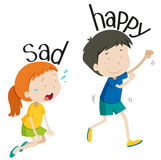 Opposite adjective sad and happy Royalty Free Stock Photo
