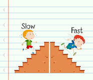 Opposite adjective slow and fast Stock Photo