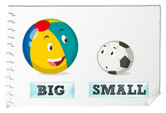 Opposite adjectives big and small Stock Images