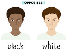 Opposite adjectives for black and white royalty free illustration