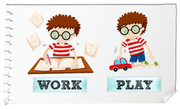 Opposite adjectives with boy working and playing Royalty Free Stock Image
