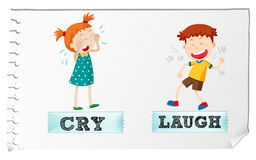 Opposite adjectives cry and laugh Royalty Free Stock Images