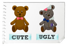 Opposite adjectives with cute and ugly stock illustration