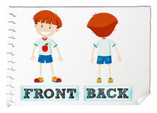 Opposite adjectives with front and back Stock Images
