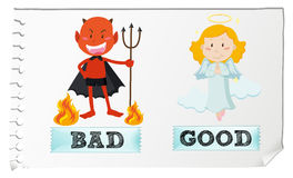 Opposite adjectives with good and bad Royalty Free Stock Images