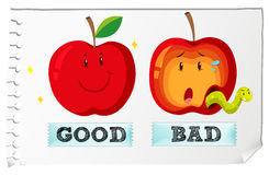 Opposite adjectives good and bad Stock Photography