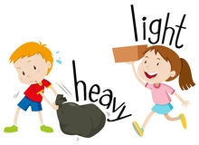 Opposite adjectives heavy and light Stock Images