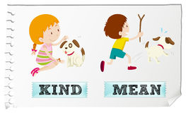 Opposite adjectives kind and mean. Illustration Stock Photo