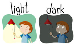 Opposite adjectives light and dark royalty free illustration