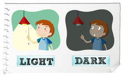Opposite adjectives light and dark Stock Photos