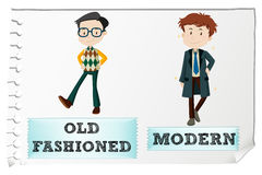 Opposite adjectives with old-fashioned and modern Stock Images