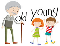 Opposite adjectives old and young Royalty Free Stock Photos