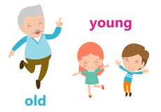 Opposite adjectives old and young illustration, Opposite English Words old and young vector illustration on white background vector illustration