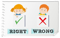 Opposite adjectives right and wrong Royalty Free Stock Photos