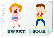 Opposite adjectives sweet and sour Royalty Free Stock Images