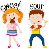 Opposite adjectives with sweet and sour Stock Photo