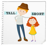 Opposite adjectives tall and short. Illustration Stock Photography
