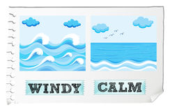 Opposite adjectives windy and calm Royalty Free Stock Photos