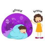 Opposite afraid and brave. Vector illustration stock illustration