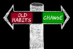 Opposite arrows with Old Habits versus Change. 
