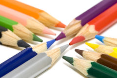 Opposite colored pencils Royalty Free Stock Images