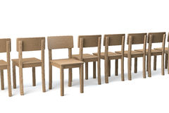 Opposite direction. Row of wooden chairs on white background, one chair facing viewer, all other chairs turning their backs, non conformist, 3d rendering Royalty Free Stock Image