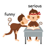 Opposite funny and serious illustration. Opposite funny and serious vector illustration Stock Image