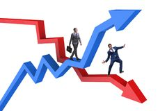 The opposite growth and decliine charts with businessman royalty free illustration