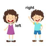 Opposite left and right. Vector illustration stock illustration