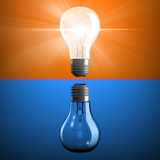 Opposite light bulbs Royalty Free Stock Image