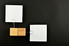 Opposite Opinion, Two paper notes on black for presentation Stock Photography