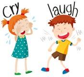 Opposite przymiotniki płacz i śmiech ilustracja wektor