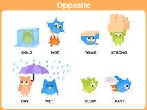 Opposite słowo dla preschool royalty ilustracja
