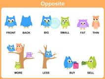 Opposite słowo dla preschool ilustracja wektor